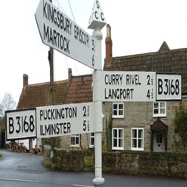 Road sign of surrounding villages to Hambridge & Westport